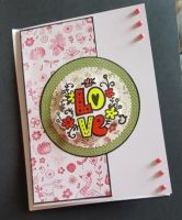 LOVE (60's style) on flowery and animals 7x5in card