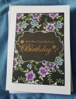 "Floral background purple and blue birthday 7"" x 5"" white card"