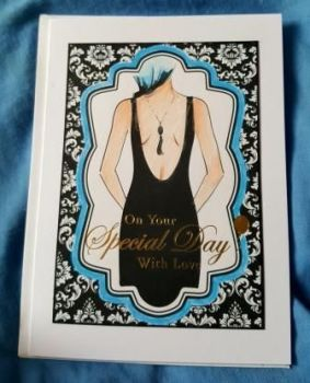 "Elegant lady with blue hair 7"" x 5"" white card"