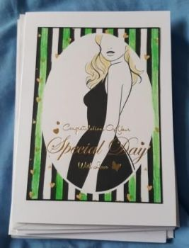 "Elegant lady with blonde hair 7"" x 5"" white card"