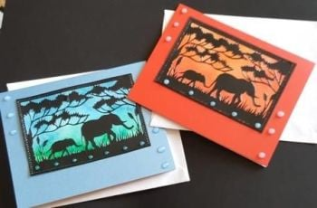 Elephants in silhouette on hand coloured 88x114mm x2 cards