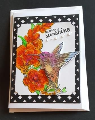You are my sunshine... hummingbird and flowers A6 white card