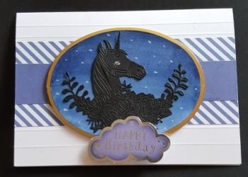 "Happy Birthday unicorn in silhouette 7x5"" white card"