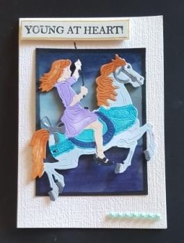 Young at Heart girl on horse A6 white card