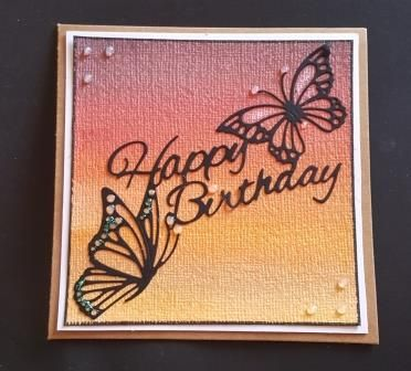 Happy Birthday - Butterflies on an ombre background square Kraft card