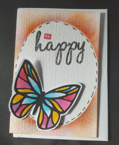 Be Happy stained glass butterfly A6 white linen effect card