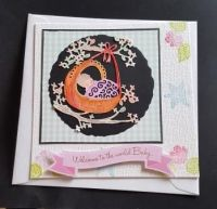 Congratulations on your new baby - Rock a Bye baby 135mm cream card