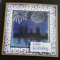 Happy Birthday - Fireworks over London in silhouette square card