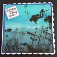 Happy Birthday - Sunken shipwreck with diver hand coloured square card