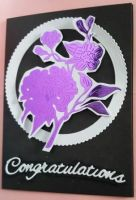 Congratulations - purple flower on white circle A6 Black card