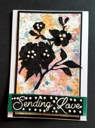 Sending Love flowers on hand painted background A6 white card