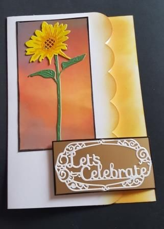 Let's Celebrate Sunflower on hand coloured background shaped A5 white card