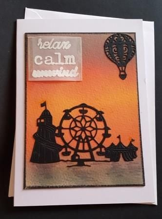 Relax, Calm, Unwind Fairground Silhouette 7x5in white card