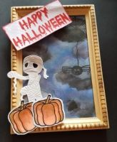 Happy Hallowe'en Mummy and pumpkins small picture frame
