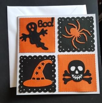 Boo! Halloween themes square card
