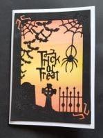Trick or Treat - spooky scene A6 white card
