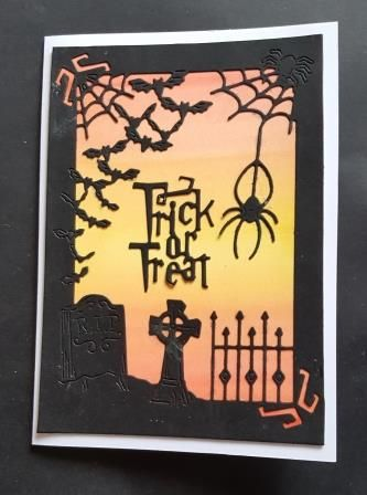 Trick or Treat - spooky scene A6 white card