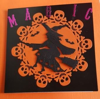 Magic witch and skull and crossbones 6in square card