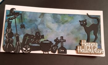 Happy Halloween Black cat and witches stuff DL white card