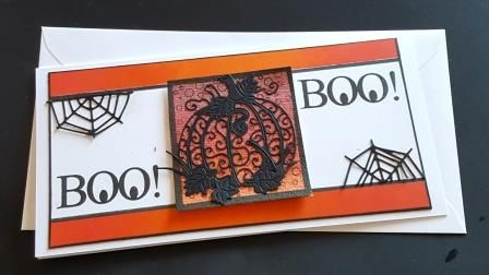 Boo! Spiders Web and pumpkin  DL white card