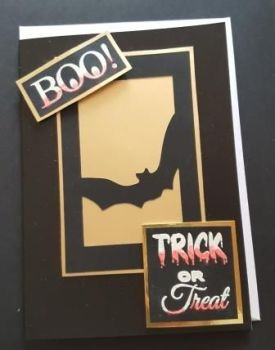 Boo! Trick or Treat Bat on gold Mirri 7x5 Black pearlescent card