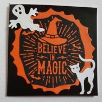 Believe in Magic  6in Black pearlescent square card