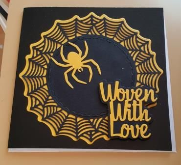 Woven with Love  6in Black pearlescent square card
