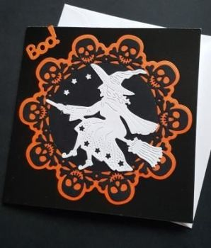"Boo! Witch and skull.. 6"" square black card"