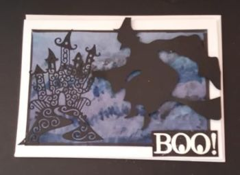 Boo! Witch and  Haunted House 7x5in white card