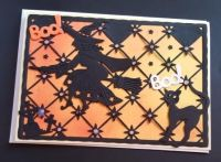 Boo! Witch and her black cat 7x5in white card
