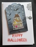 Happy Hallowe'en Haunted House and Spider and web 7x5in white card