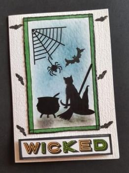 Wicked... black cat and all things witchy... A6 white card