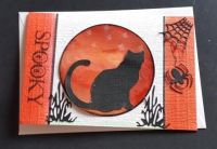 Spooky ... black cat and all things witchy... A6 white card