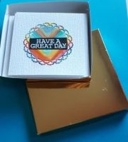 Box of 6 4in white cards with various greetings on front