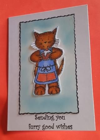 Sending you furry good wishes... Tabby Cat A6 white card