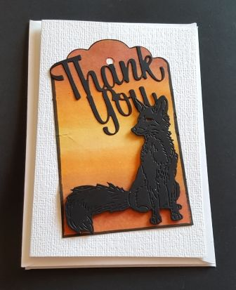Thank you... fox in silhouette on hand coloured background A6 card