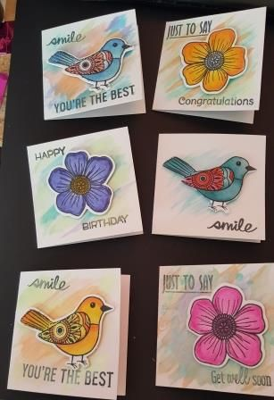 Set of 6 Hand painted and coloured gift tags with envelopes