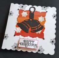Happy Christmas Christmas Bells in silhouette square card