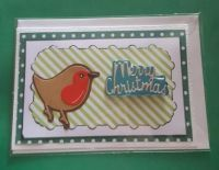 Christmas Robin on striped background Merry Christmas A6 white card