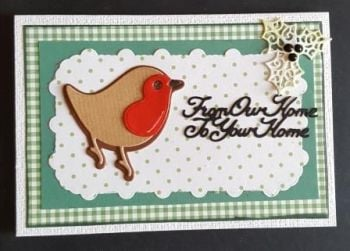 Christmas Robin on striped background From Our Home to your home A6 white card