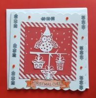 Owl with presents on red and white striped background square card