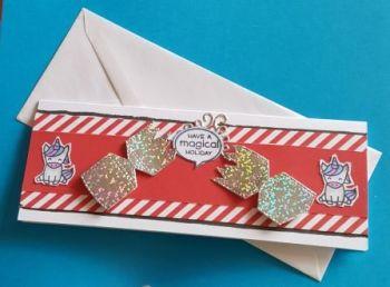 Cracker with unicorns narrow dl card