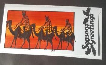 Season's Greetings - Three Wise Men in silhouette DL card