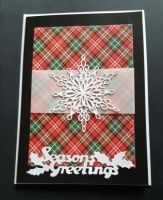 Season's Greetings - Snowflake on tartan background 7x5in black pearlescent card