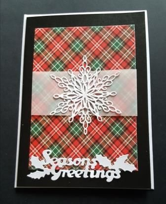 Season's Greetings - Snowflake on tartan background 7x5in black pearlescent