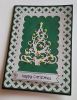 Stylised Christmas Tree Happy Christmas 7x5in black pearlescent card