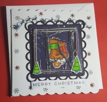 "Furry friends looking at Santa in sleigh 6"" ornate square card"