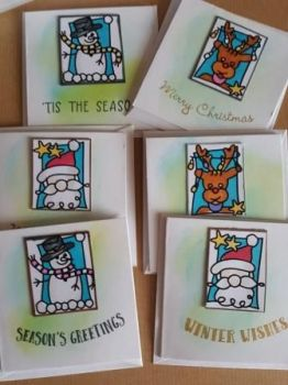 Christmas Gift tags or mini cards x6 in pack -