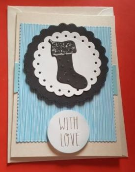 With Love Christmas Stocking black and white A6 pearlescent card