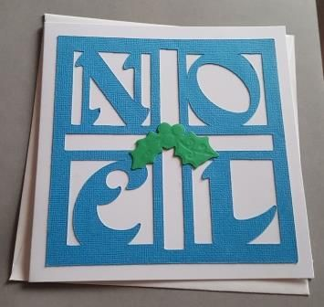 Noel with holly 6in square Christmas Card